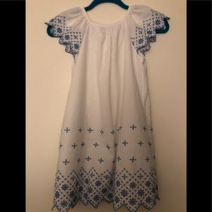 Gap White Cotton Embroidered Dress size 8